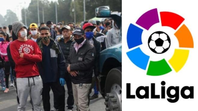 Donación de tapabocas de LaLiga a habitantes vulnerables de Bogotá.