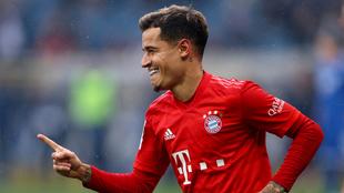 Coutinho festeja un gol con el Bayern esta temporada
