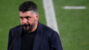 Gattuso, cariacontecido ante el Barcelona
