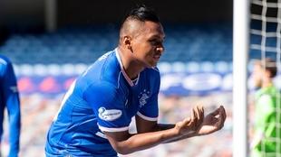 La celebración de Alfredo Morelos tras su regreso a gol.