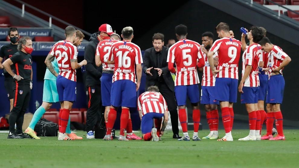 Jugadores del Atlético de Madrid durante un partido.