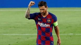 Messi celebra uno de los goles ante el Napoli.