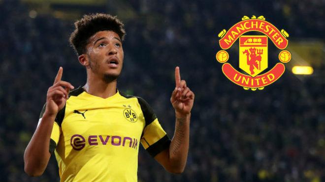 Jadon Sancho, en un montaje fotográfico con la camiseta del Dortmund...