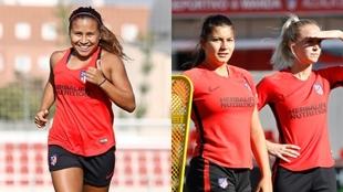 Leicy Santo y compañeras entrenando en el Atlético de Madrid