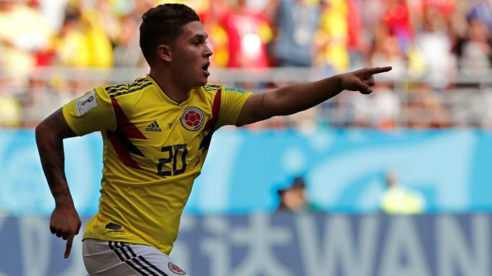 Juan Fernando Quintero celebra un gol en el Mundial de Rusia 2018.