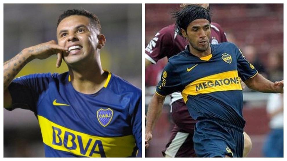 Edwin Cardona y Fabián Vargas con la camiseta de Boca.