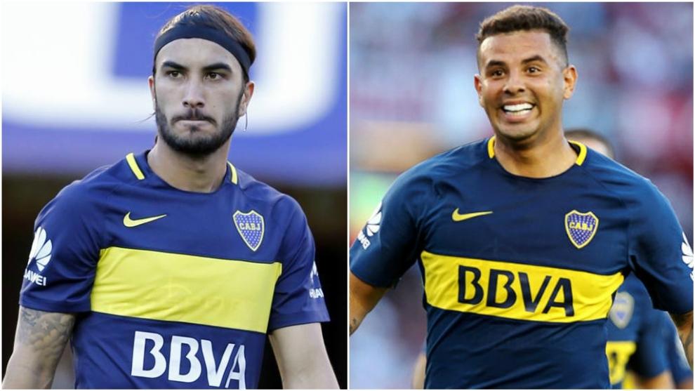 Collage de Sebastián Pérez y Edwin Cardona con la camiseta de Boca...
