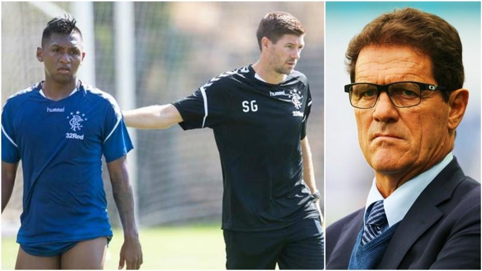 Collage de Alfredo Morelos, Steven Gerrard y Fabio Capello.