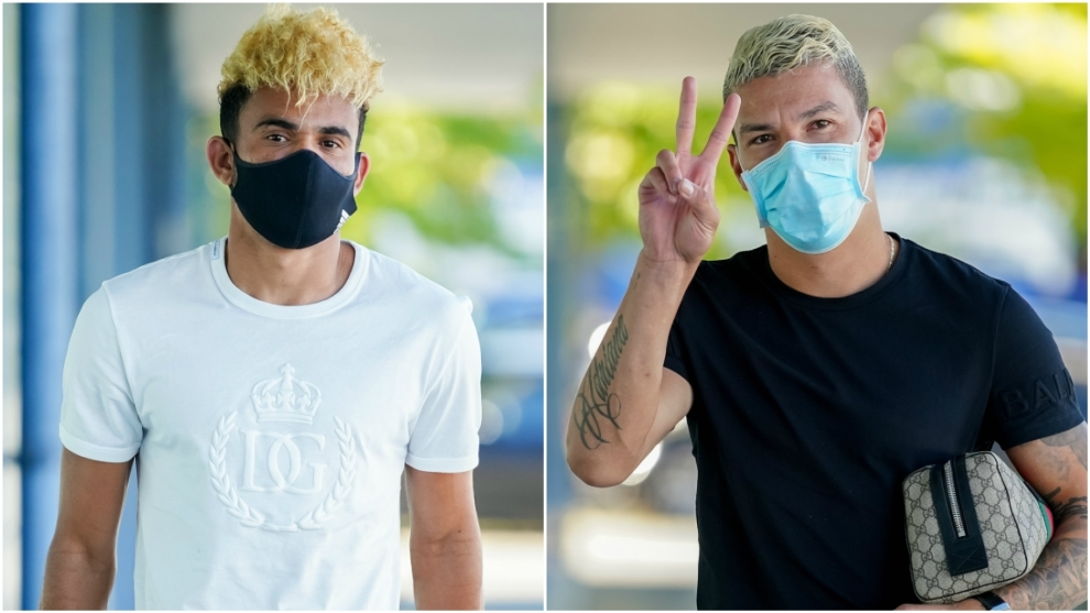Collage de Luis Díaz y Matheus Uribe, llegando al entrenamiento del...