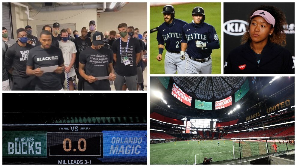 Collage de los deportes que protestan por la muerte de Jacob Blake.