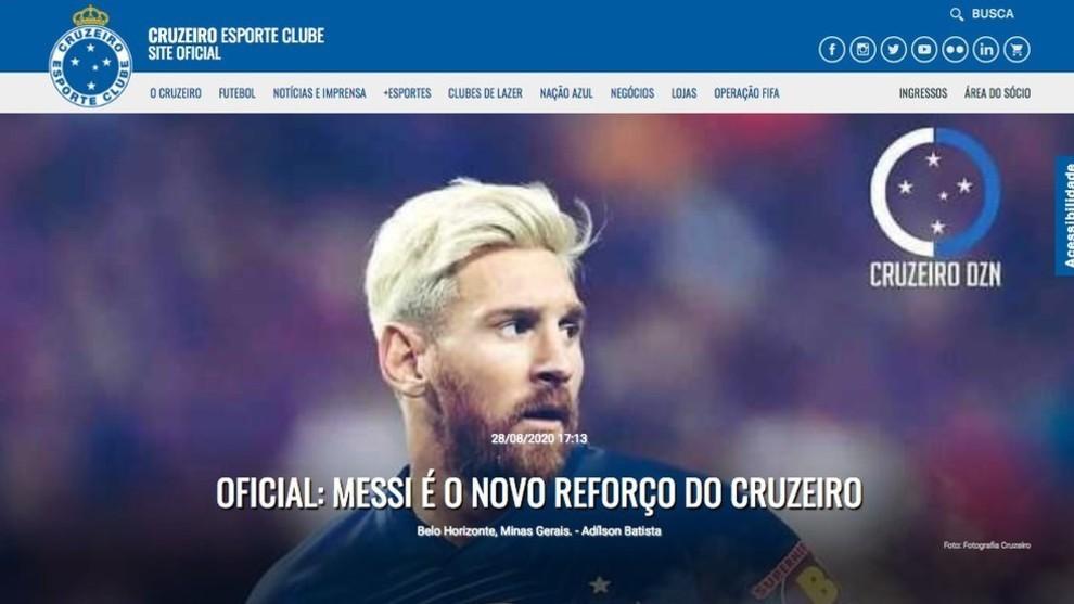 Anuncio de Messi en el sitio oficial de Cuzeiro.