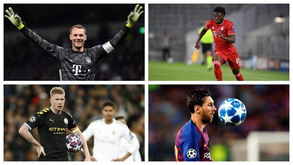 Neuer, Davies, De Bruyne y Messi.