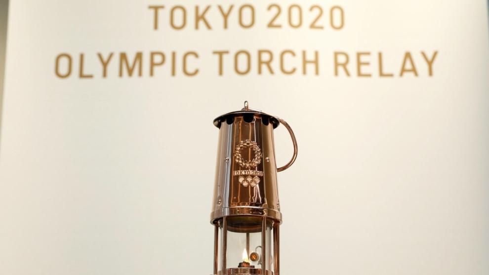 La llama olímpica en Tokio.