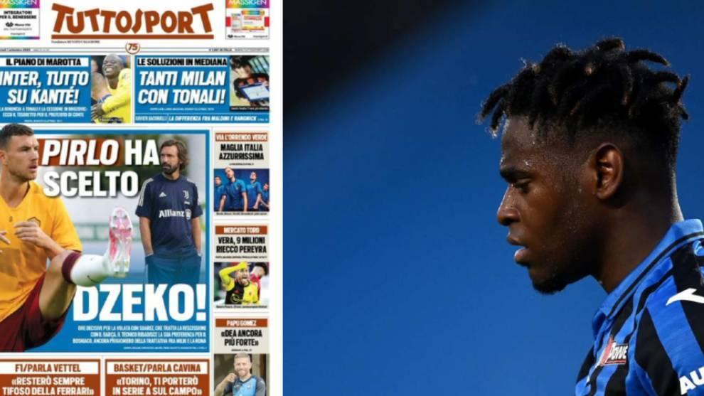 La portada de Tuttosport y Duván Zapata, triste tras una derrota del...