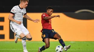 Ansu Fati en su debut contra Alemania.