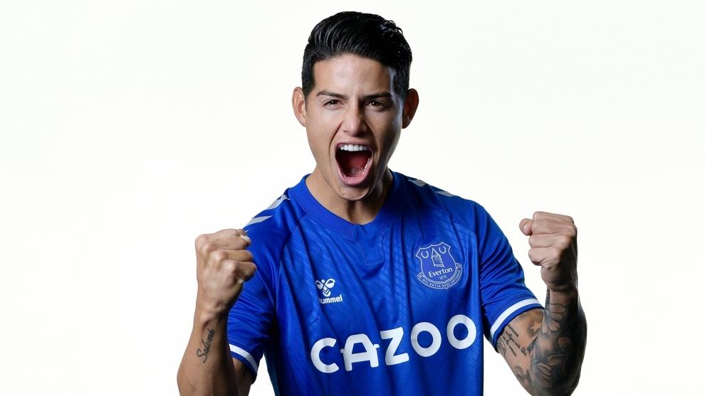 James Rodríguez, con la camiseta del Everton.