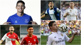 Collage de James Rodríguez en clubes europeos.
