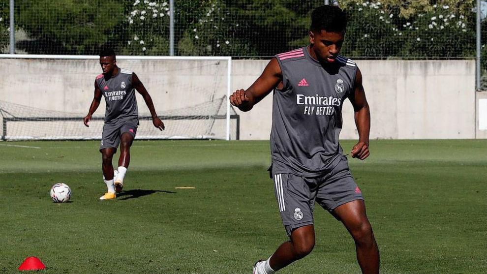 Rodrygo y Vinícius, en un entrenamiento de la pretemporada 2020/2021...