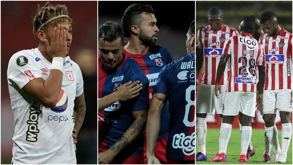 Collage con jugadores de América, Medellín y Junior.