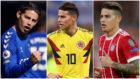 Collage de James Rodríguez con en el Everton, la Selección Colombia...