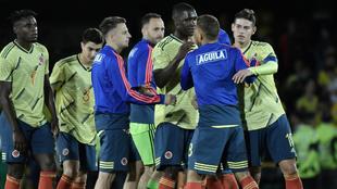 Jugadores de la Selección Colombia durante un partido.