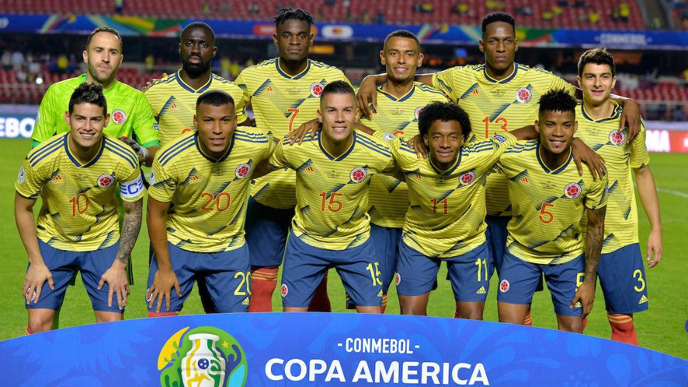 Jugadores de la Selección Colombia en un partido.