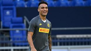 Lautaro, en un entrenamiento con el Inter de Milán