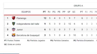 Así queda el grupo A de Junior en la Copa Libertadores.