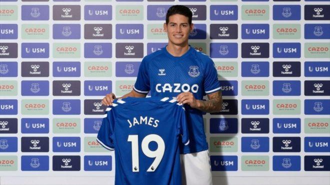 James, en su presentación como jugador del Everton