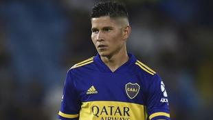 Campuzano, en un partido de Boca Juniors.