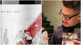 Collage del vino 'Gloria Eterna' y Juan Fernando Quintero