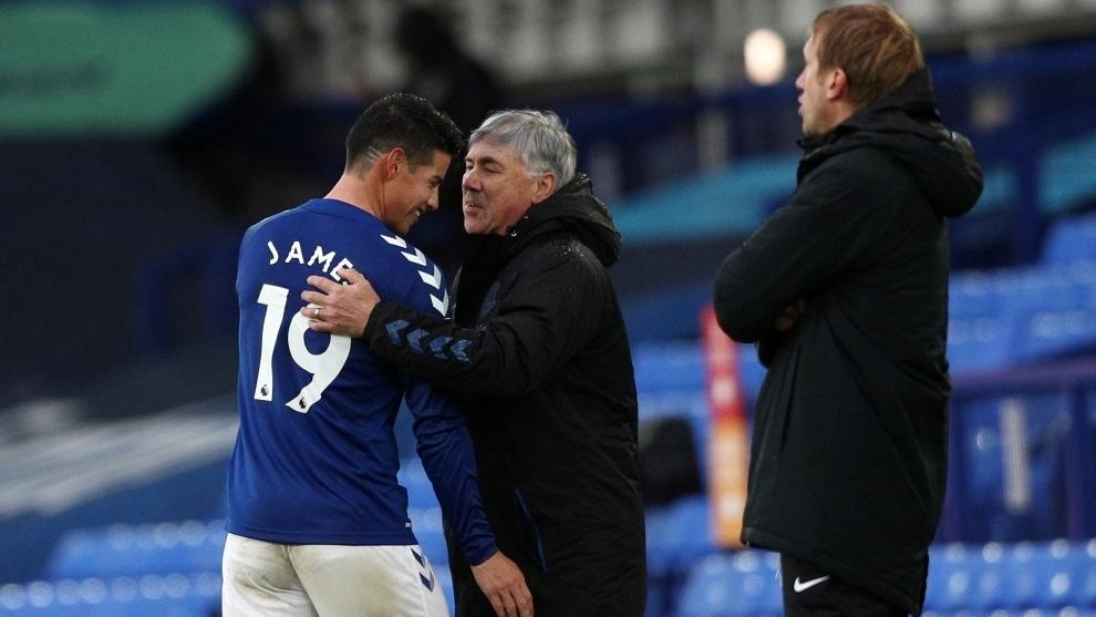 Ancelotti destaca la labor de James en el triunfo de Everton sobre...