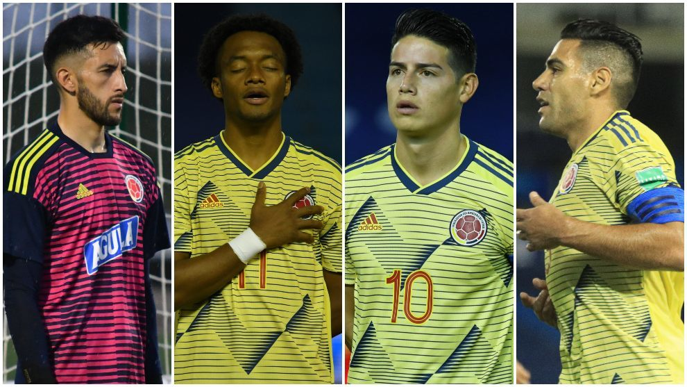 Collage de Vargas, Cuadrado, James y Falcao.