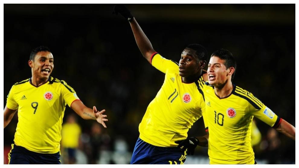 Luis Muriel, Duván Zapata y James Rodríguez durante el Mundial...