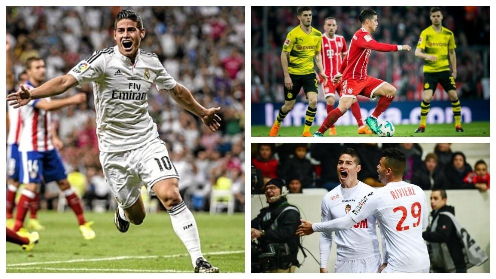 James durante su primer derbi en Real Madrid, Mónaco y Bayern.