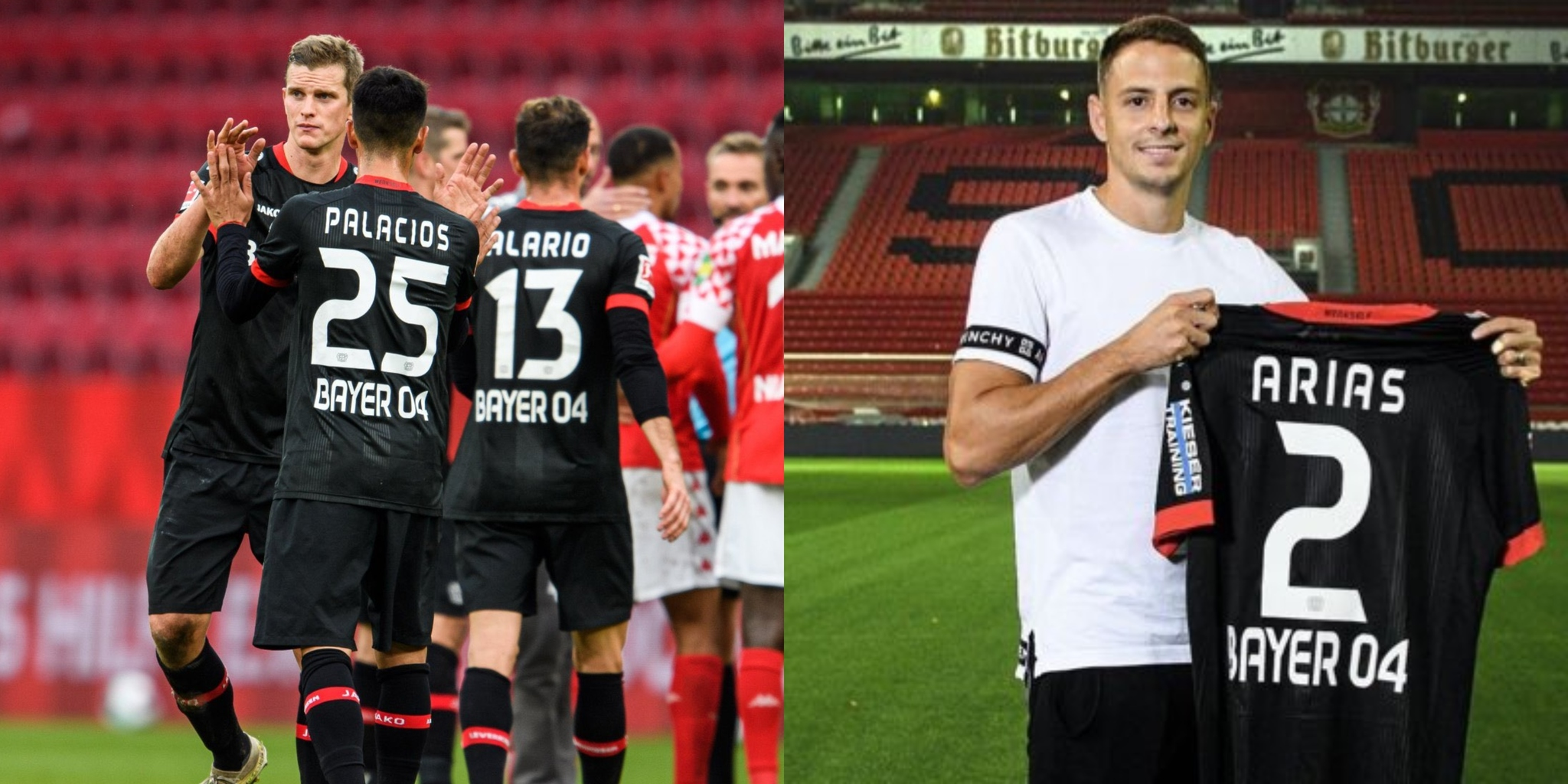 Jugadores del Leverkusen celebran la victoria ante el Mainz 05