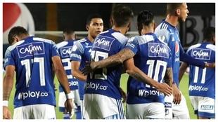 La celebración del gol de 'Chicho' Arango anoche