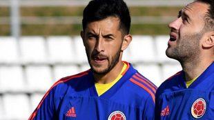 Camilo Vargas y David Ospina, en un entrenamiento de la Selección...