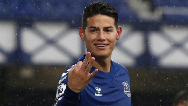 James, tras marcar con el Everton