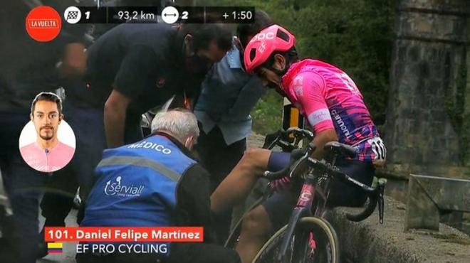 Dani Martínez es atendido por personal médico.