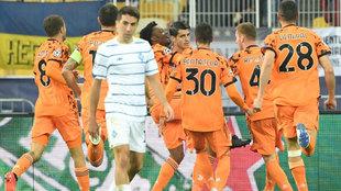 Morata celebra uno de sus goles ante el Dinamo de Kiev