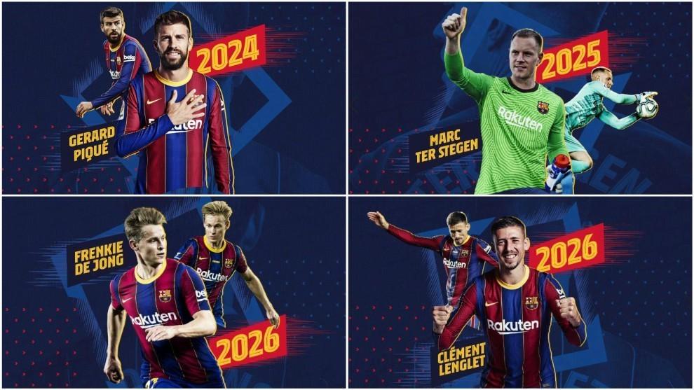 La imagen con la que el Barcelona anunció la cuádruple renovación /