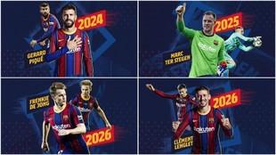 La imagen con la que el Barcelona anunció la cuádruple renovación
