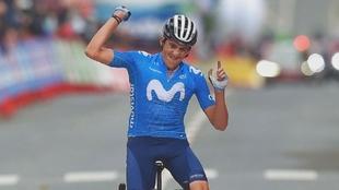 La felicidad del español tras ganar la segunda etapa.