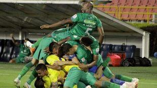 Equidad celebra su victoria ante el Tolima.