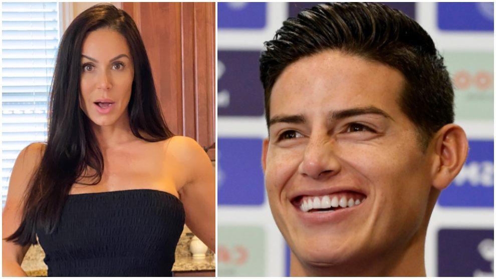 Collage de Kendra Lust y James Rodríguez.
