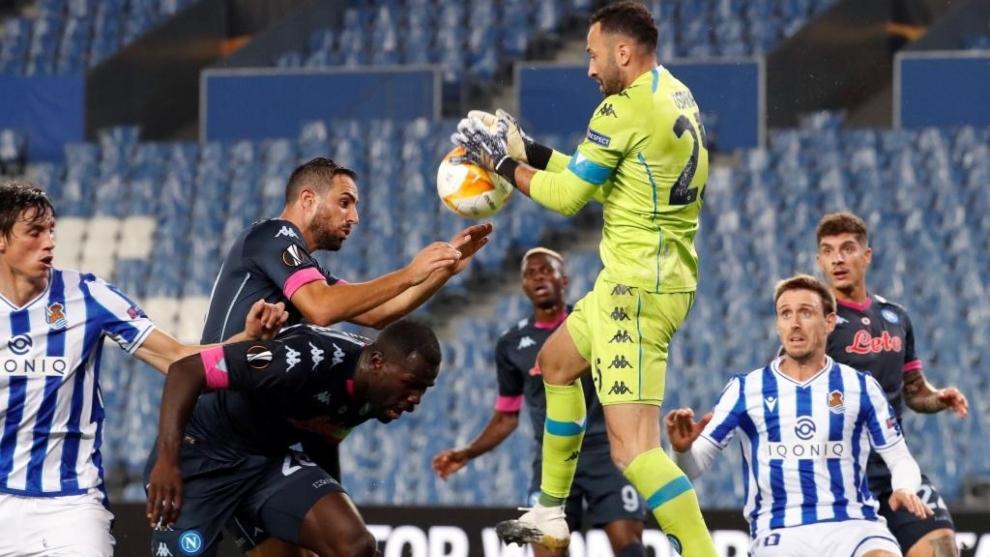 David Ospina, en el partido de la Real Sociedad contra el Nápoles de...