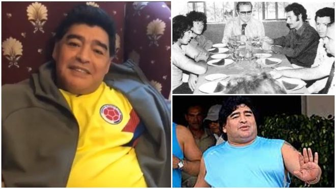 Collage de varios momento de Diego Maradona.