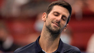 Novak Djokovic, sorprendido tras un punto.