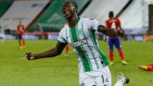 Baldomero Perlaza celebra el gol ante el Deportivo Pasto.